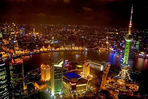 China Shanghai At Night Photograph by Anonymous