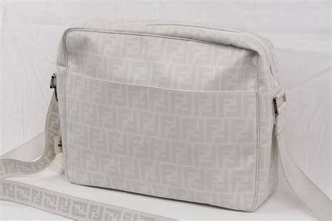 fendi white ff monogram canvas large messenger bag crossbody  sale  stdibs