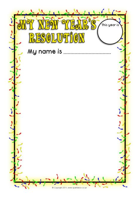New Year's Resolutions Writing Frames (sb7021) Sparklebox
