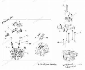 Polaris Side By Side 2014 Oem Parts Diagram For Engine  Cylinder Head  Cams  U0026 Valves