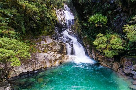 waterfall  tropical rainforest  zealand nature