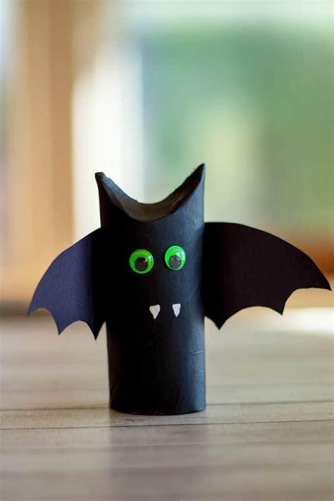 halloween toilet paper roll bat craft fun crafts  kids