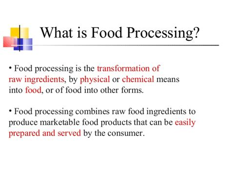 what cuisine techniques in food processing