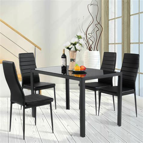 Kitchen Table Sets Glass by 5 Kitchen Dining Set Glass Metal Table And 4 Chairs