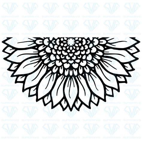 mandala sunflower svg files  silhouette files