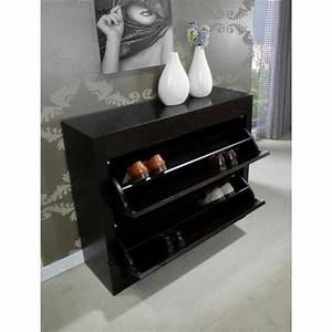Meuble Laqué Noir : meuble chaussure noir laque ~ Premium-room.com Idées de Décoration
