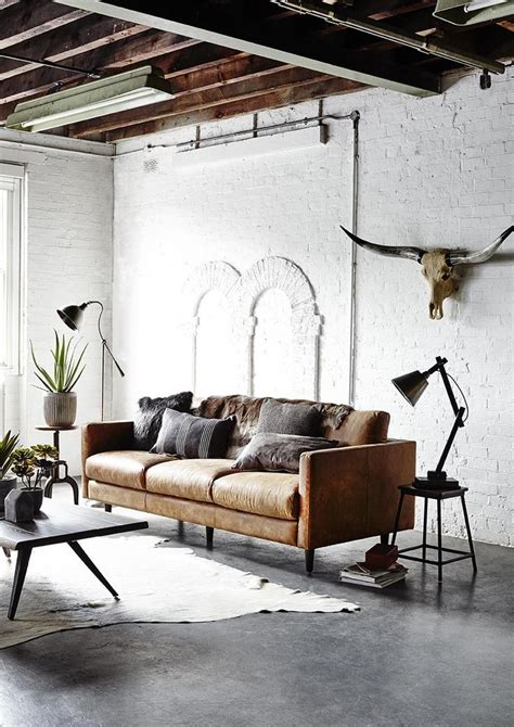 Rustic Industrial Interior Design Exles by 25 Best Ideas About Leather Sofas On Leather