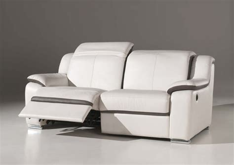 canapé electrique 3 places canapé 3 places confort électrique en cuir blanc quot eclair quot