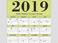 Free Editable Victoria Public Holidays 2019 Calendar