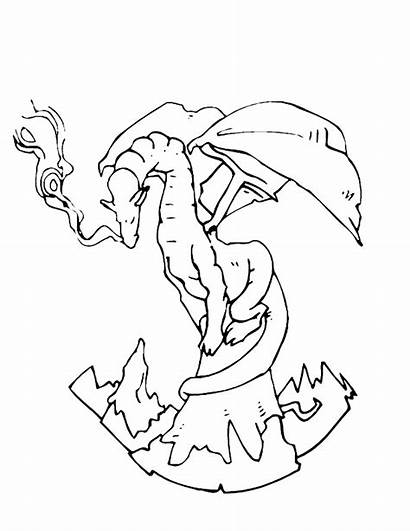 Coloring Fantasy Pages Dragon Printable Bearded Mountain