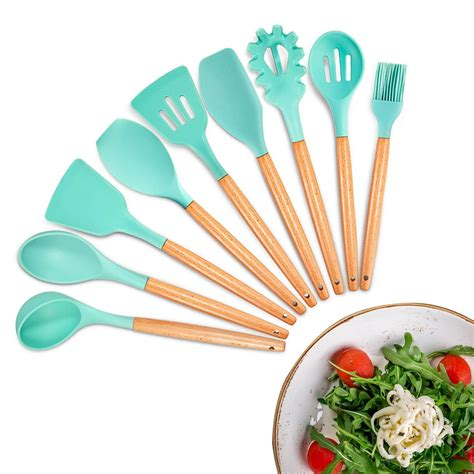utensils kitchen cooking utensil silicone wooden tool gadgets cookware nonstick acacia pieces sets garden