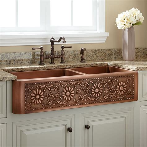 colored sinks kitchen 42 quot sunflower 60 40 offset bowl copper farmhouse 2333