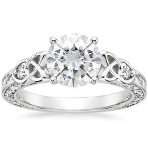 moissanite aberdeen diamond ring in 18k white gold