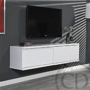 Banc Tv Suspendu : meuble tv suspendu laqu blanc table pour tv trendsetter ~ Teatrodelosmanantiales.com Idées de Décoration