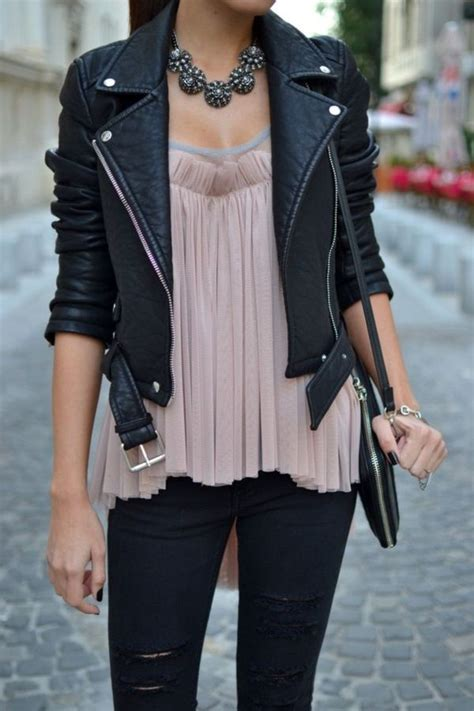 Outfits with Leather Jacket-19 Ways to Style Leather Jacket