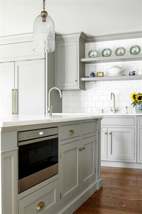 microwave in kitchen island custom kitchen with gray cabinets home bunch interior