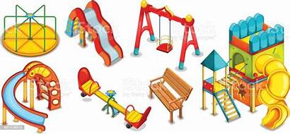 Playground Equipment Slides Roundabout Illustrations Playing Playhouse