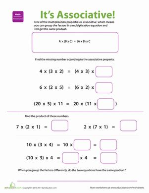 properties of multiplication associative worksheet education