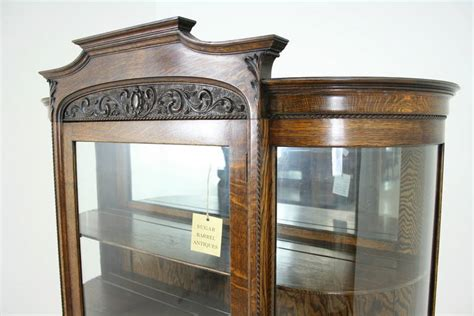 glass kitchen cabinet antique american tiger oak bow front china display curio 1229