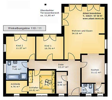 Bungalow 110 Qm Grundrisse by Winkelbungalow 110 11 Einfamilienhaus Neubau Massivbau