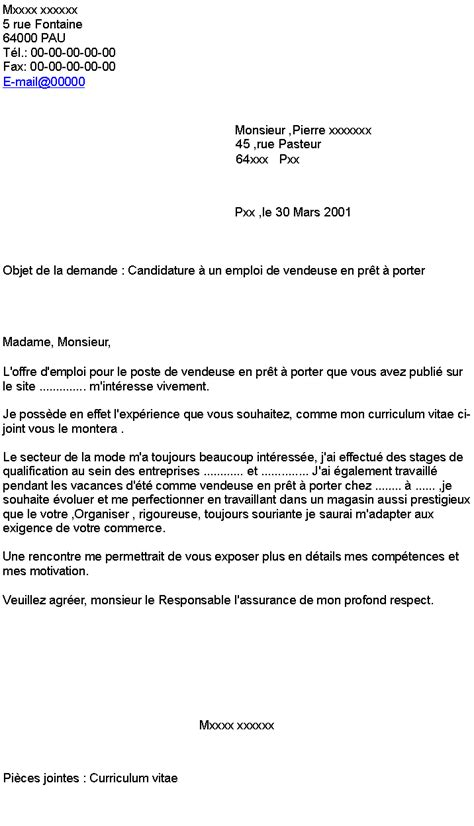 doc lettre de motivation vendeuse pret a porter