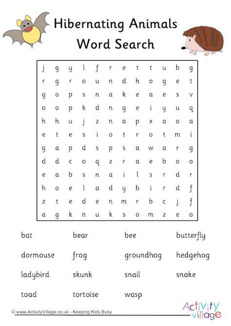hibernating animals word search