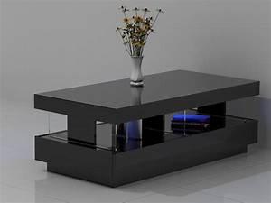 Table Basse Noir : table basse fabio laqu blanc ou noir leds 2 tiroirs ~ Teatrodelosmanantiales.com Idées de Décoration