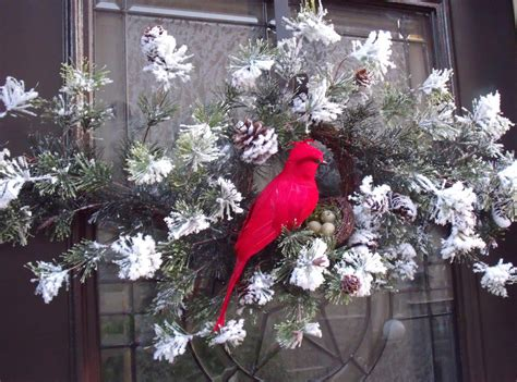 christmas wreath cardinal christmas swag bird nest white