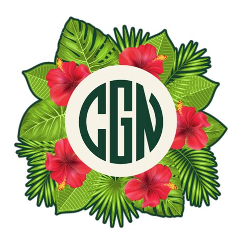 personalized tropical leaves hibiscus monogram initials decal  custom personalized
