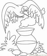 Crow Thirsty Coloring Pages Story Drawing Clipart Stories Printable Colouring Animal Worksheets Mug Crows Sheets Cartoon Clip Siting Birds Preschool sketch template
