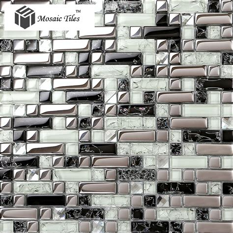 metallic wall tiles kitchen tst glass tile silver black white metallic 7479