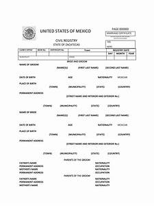 mexico marriage certificate With mexican marriage certificate translation template