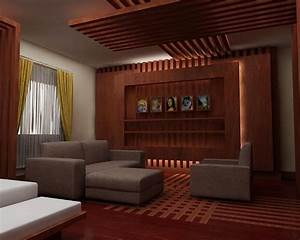Wooden ceiling design for drawing room - GharExpert