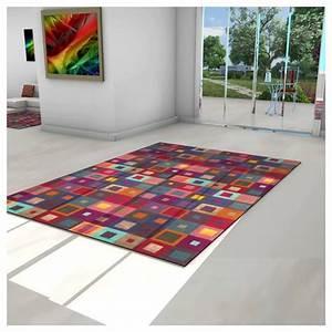 tapis scandinave multicolore motifs carre With tapis kilim avec canapé 2m longueur