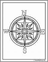 Compass Rose Coloring Pages Drawing Template Pirate Printable Colouring Printables Pdf Getcolorings North East West South Getdrawings Sketch sketch template