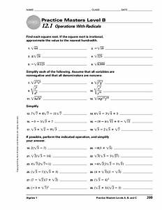 Operations With Radicals Worksheet For 9th Grade
