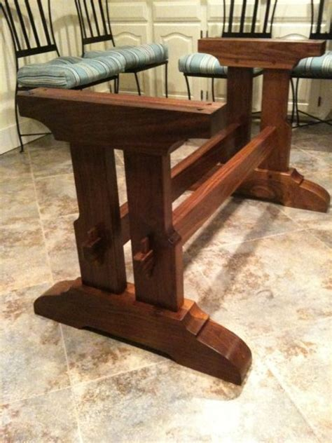 craftsman style trestle table durable furniture trestle
