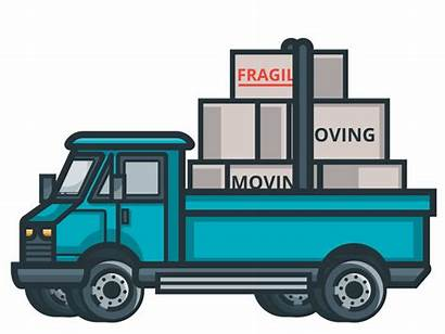 Moving Truck Packing Animated Boxes Marine Move