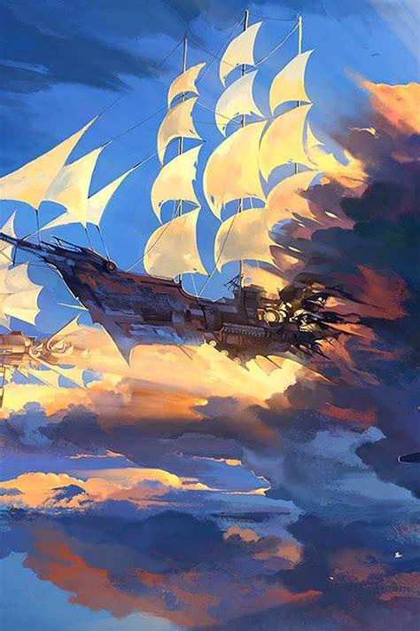 Anime Illustration Wallpaper - az67 fly ship anime illustration wallpaper