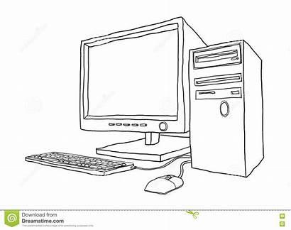 Computer Line Desktop Drawn Painting Hand Illustration2