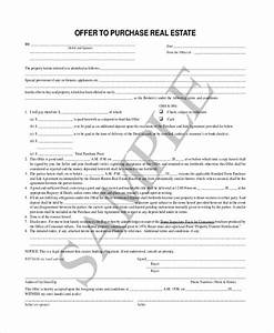 sample offer to purchase real estate form 7 free With offer to purchase contract template