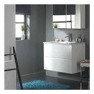 Meuble De Salle De Bain Blanc : meuble de salle de bain 80 cm 2 tiroirs blanc laqu ~ Melissatoandfro.com Idées de Décoration