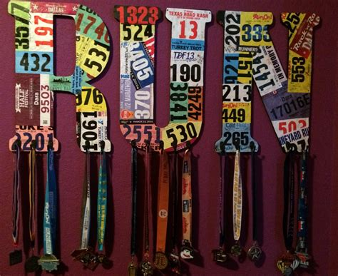 diy medal racks race bib covered wooden letters pynk