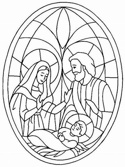 Nativity Coloring Jesus Pages Christmas Scene Glass