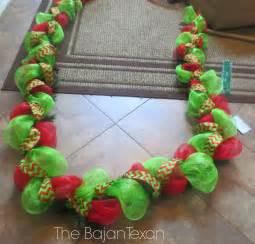 diy holiday garland using deco mesh holiday decor series the bajan texan