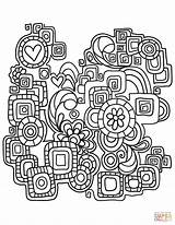 Doodle Coloring Abstract Pages Printable Doodles Supercoloring Drawing Books Games Adults Styles Categories sketch template