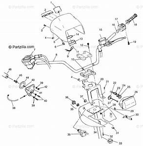 Polaris Atv 1998 Oem Parts Diagram For Handlebar  U0026 Headlight Pod Xplorer 400l