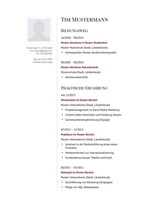 Bewerbungsschreiben Lebenslauf Muster by Lebenslauf Muster F 252 R Kaufmann Lebenslauf Designs