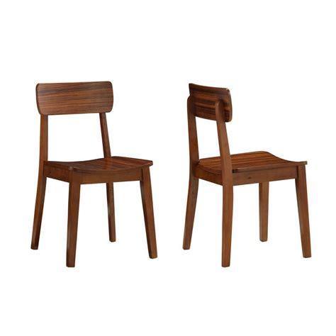 boraam zebra hagen rich walnut wood dining chair set of 2