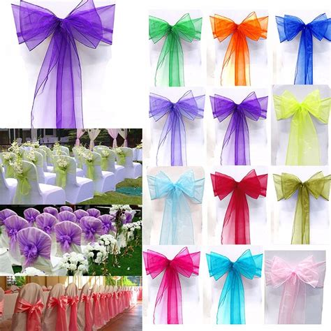 1pc organza chair cover sash bow wedding party reception banquet decoration sashes chair covers